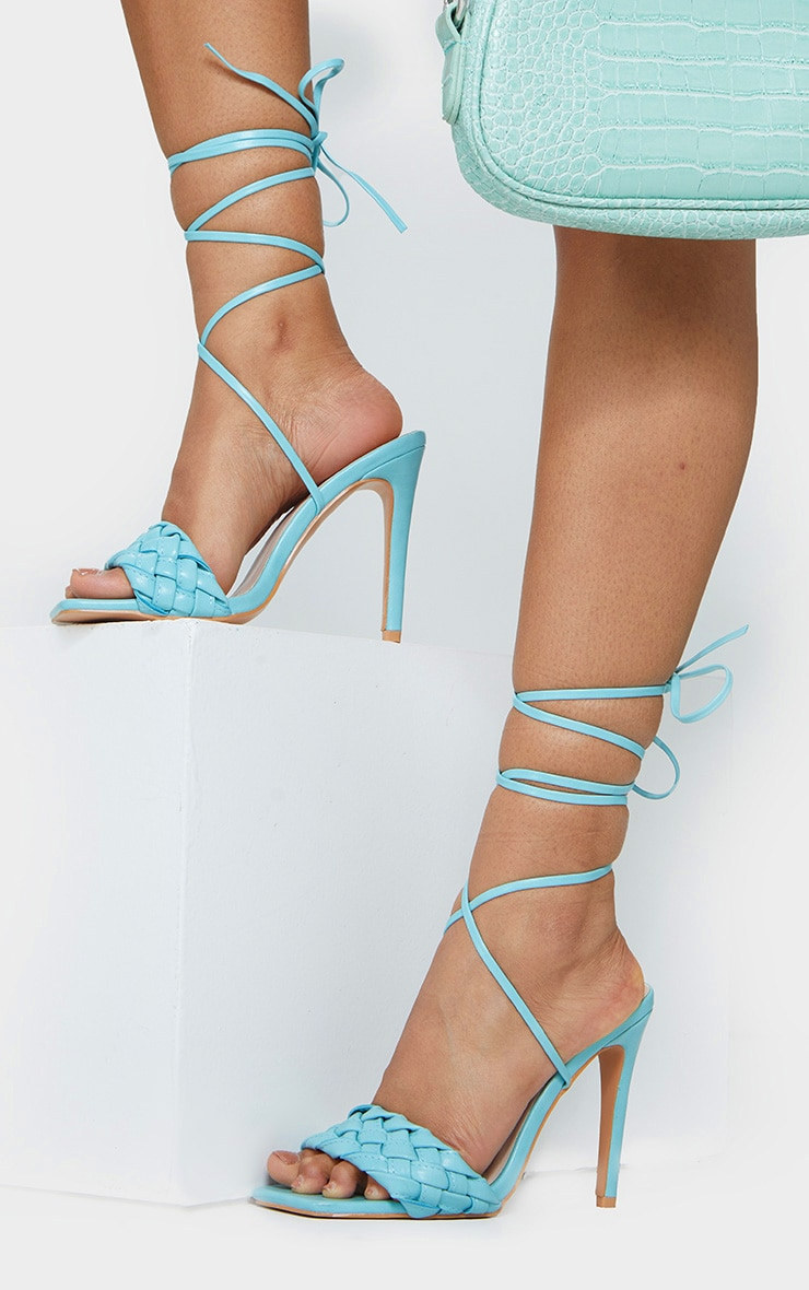 Blue Square Front Plated Lace Up High Heels 1
