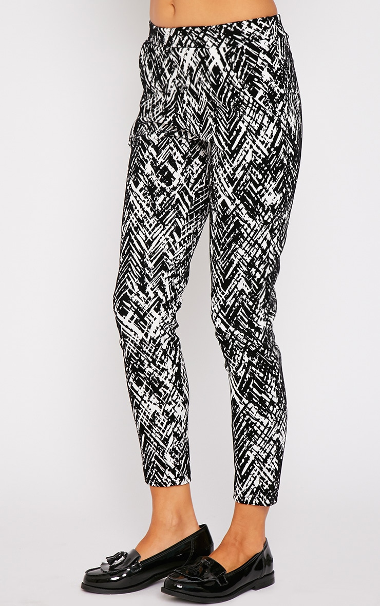 Ally Monochrome Abstract Print Flocked Cigarette Trouser 3