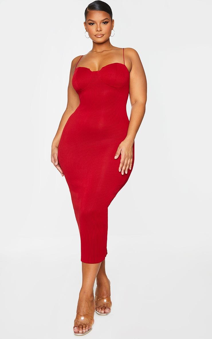 Plus Red Crinkle Rib Cup Detail Midi Dress 1