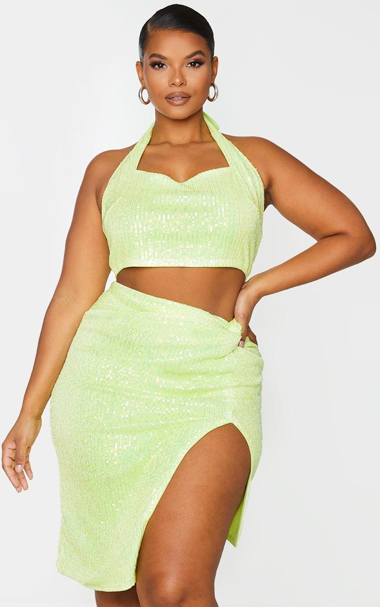 Plus Lime Sequin Halterneck Crop Top 1