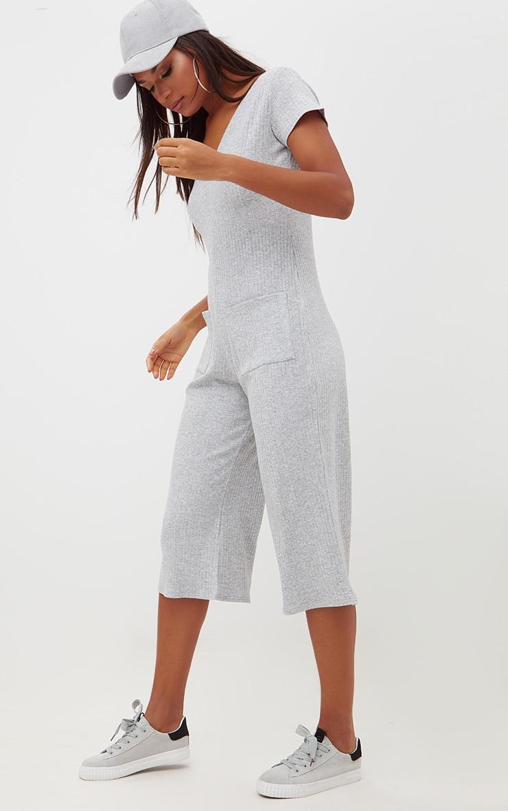 Grey Marl Short Sleeve Ribbed Culottes Pocket Jumpsuit 4