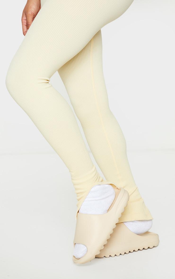 Shape Cream Contour Ribbed Split Hem Leggings 4