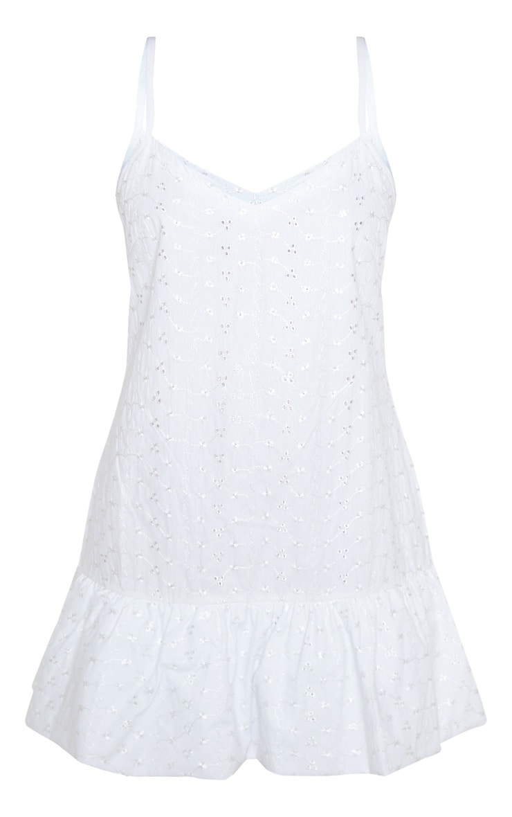 White Broderie Analgise Frill Hem Shift Dress 3