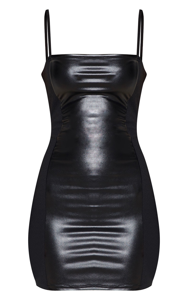 Black Strappy Faux Leather Panelled Dress 3