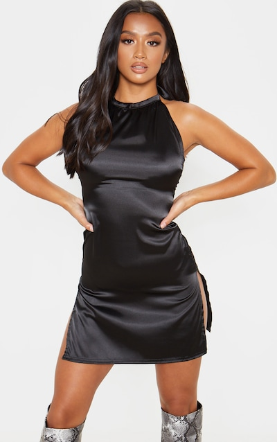 7ec00c0f1d32a Petite Black Halter Double Split Satin Mini Dress