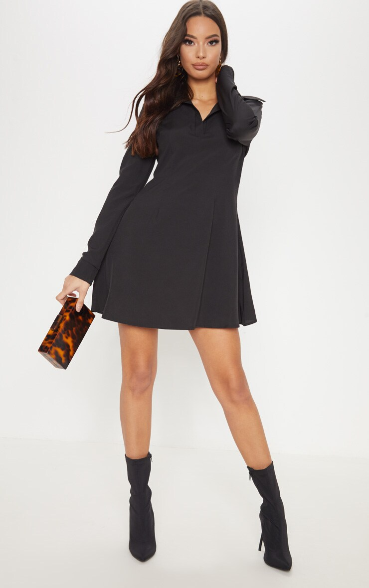 Robe chemise noire style patineuse