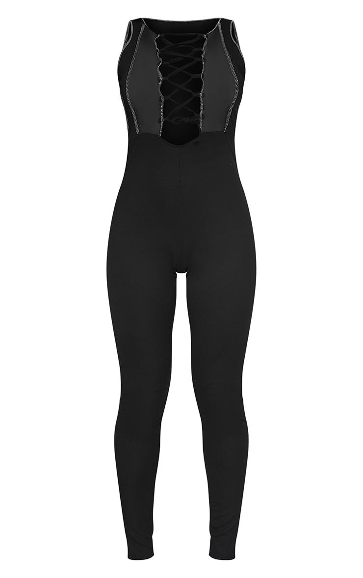 Black Lace Up Contrast Seam Sleeveless Jumpsuit 5