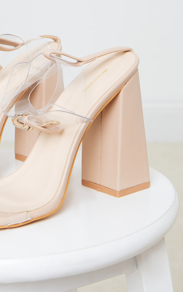 Nude PU Clear Strap Ankle Detail Block High Heels 4