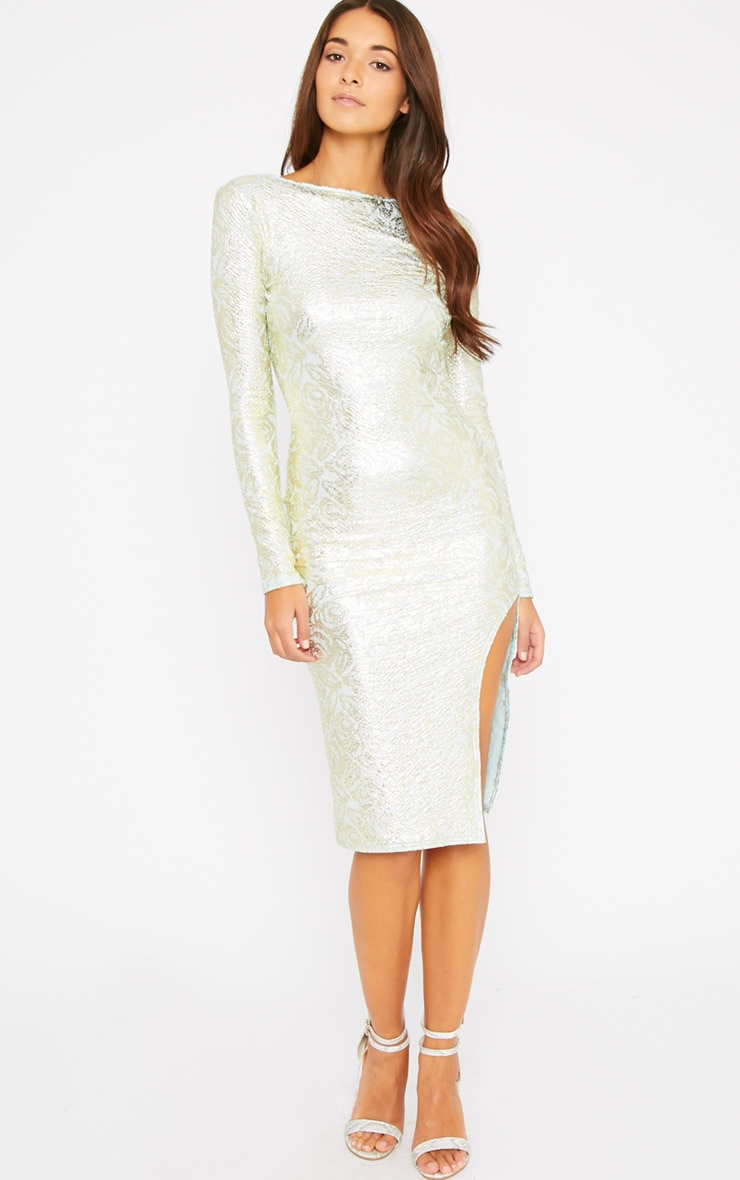 Moxie Mint Gold Foil Split Midi Dress 1