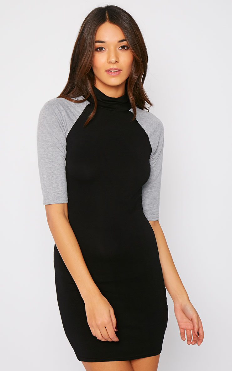 Leslie Black and Grey Turtle Neck Raglan Dress 1