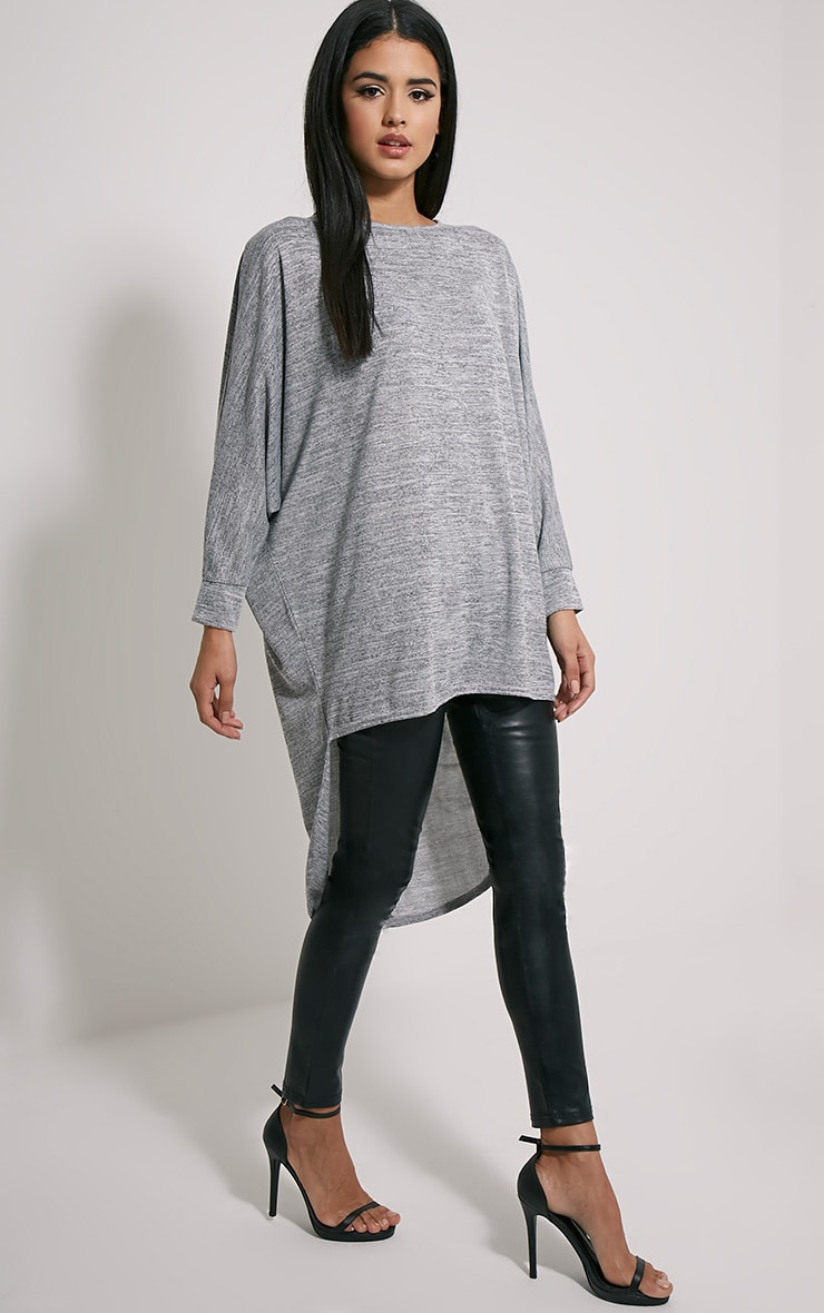 Eliora Grey Oversized Drop Hem Top 1