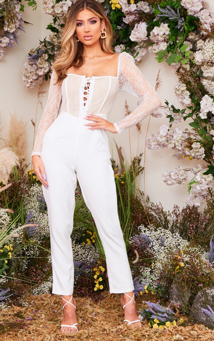White Lace Up Lace Bodice Jumpsuit 1