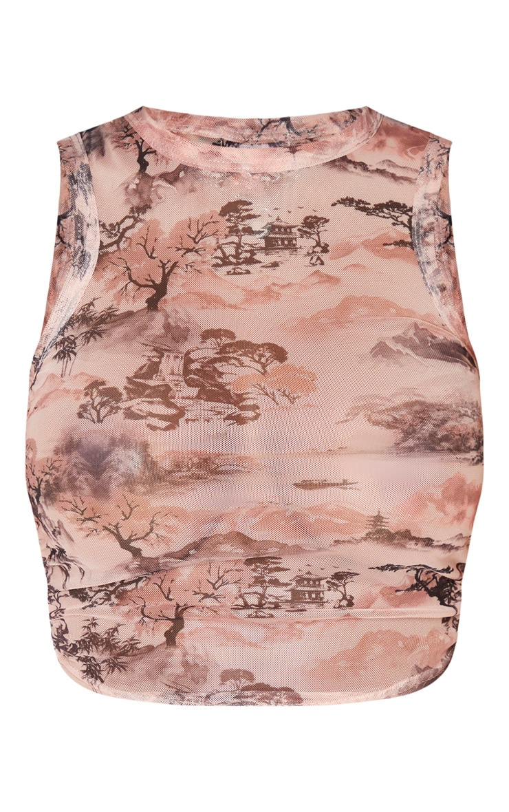 Shape Nude Oriental Print Mesh Ruched Side Sleeveless Crop Top 3