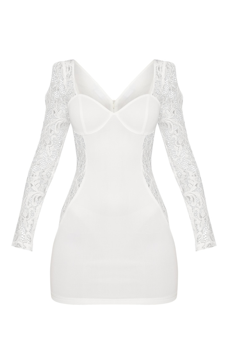 White Lace Insert Cup Bodycon Dress 3