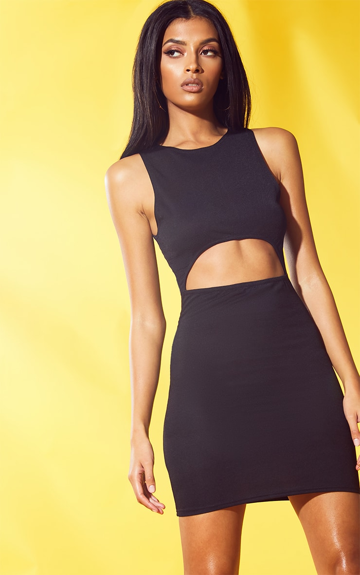 Black Cut Out Bodycon Dress 1