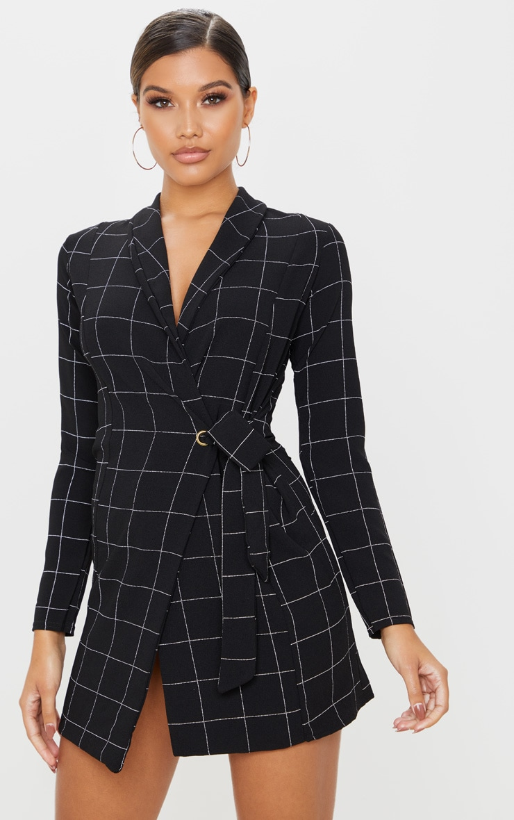Black Checked Long Sleeve Blazer Dress 1