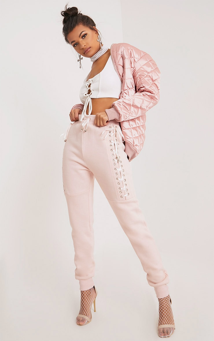 Emelia Blush Ribbon Lattice Joggers 1