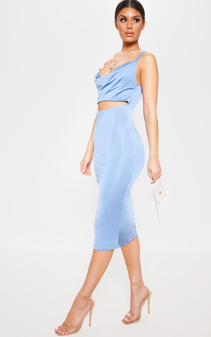 Blue Slinky Cut Out Centre Cowl Neck Bodycon Dress 1