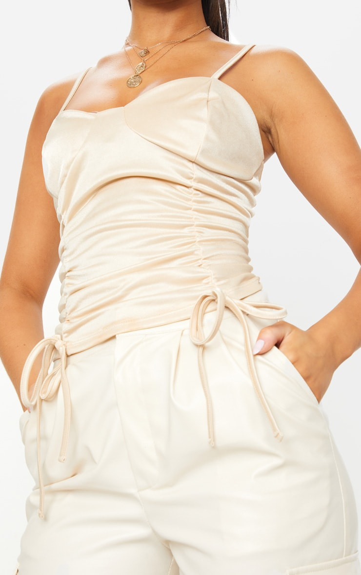 Nude Stretch Satin Ruched Front Long Top 4