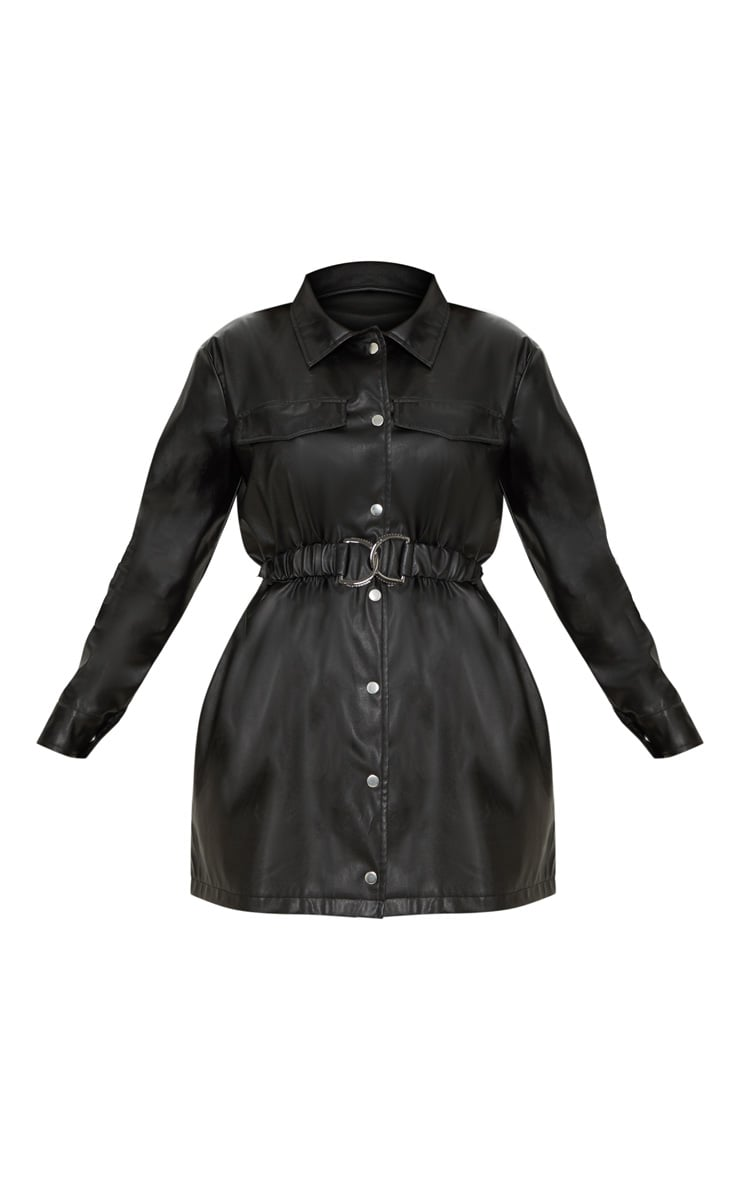Black Faux Leather Belted Shirt Dress 3