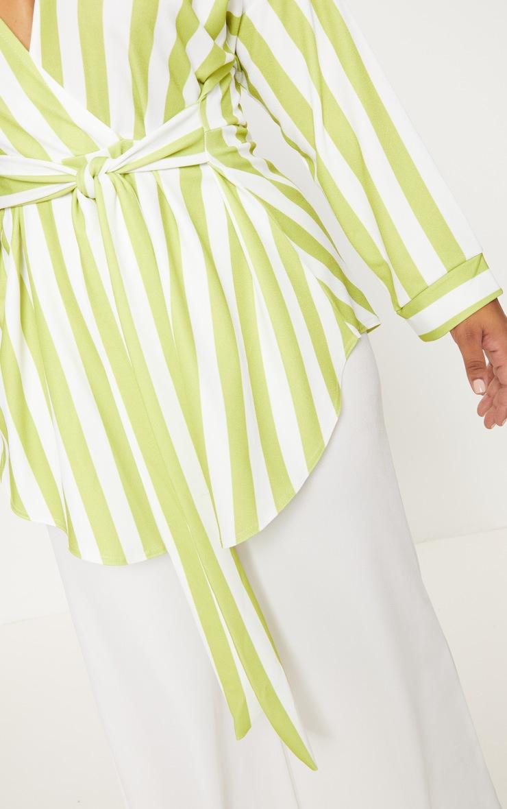 Plus Lime Striped Tie Waist Blouse 5