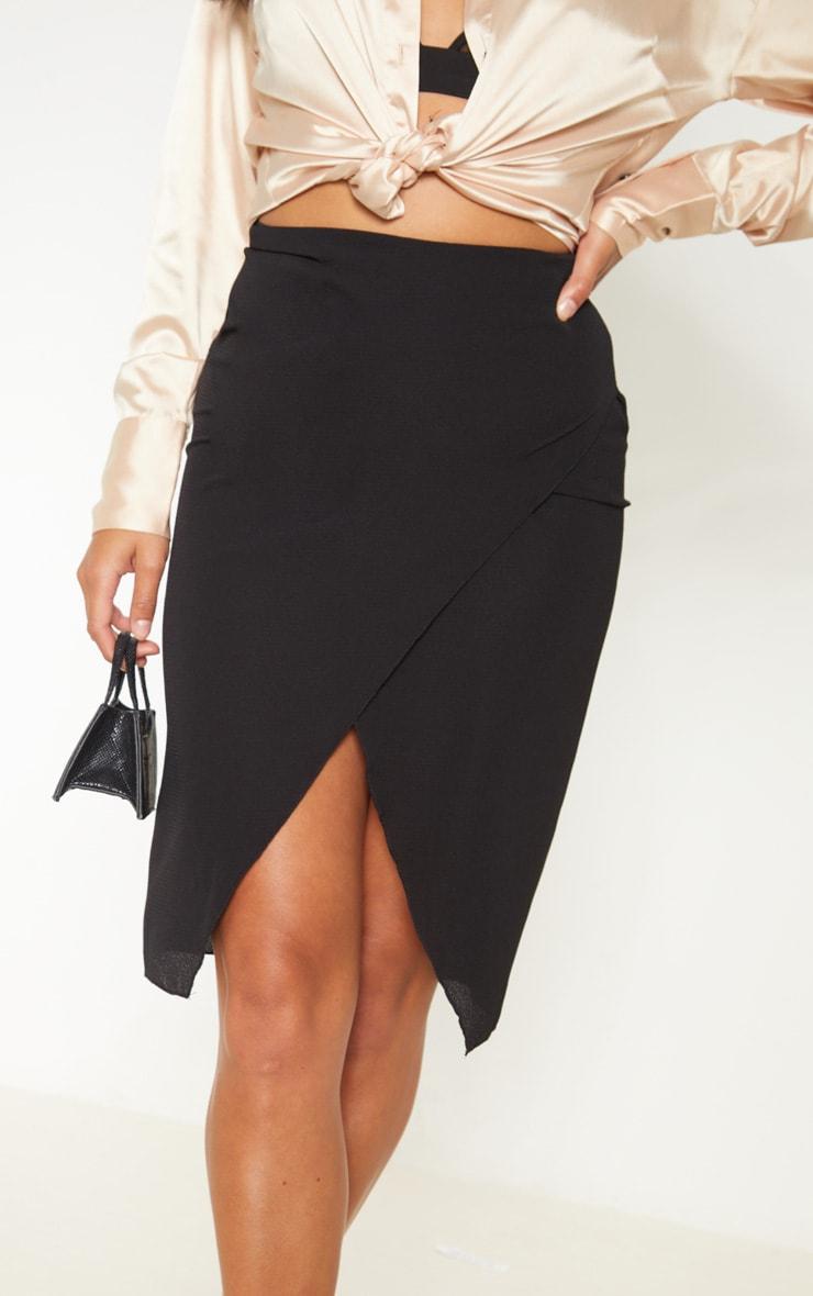 Petite Black Wrap Pencil Skirt 5
