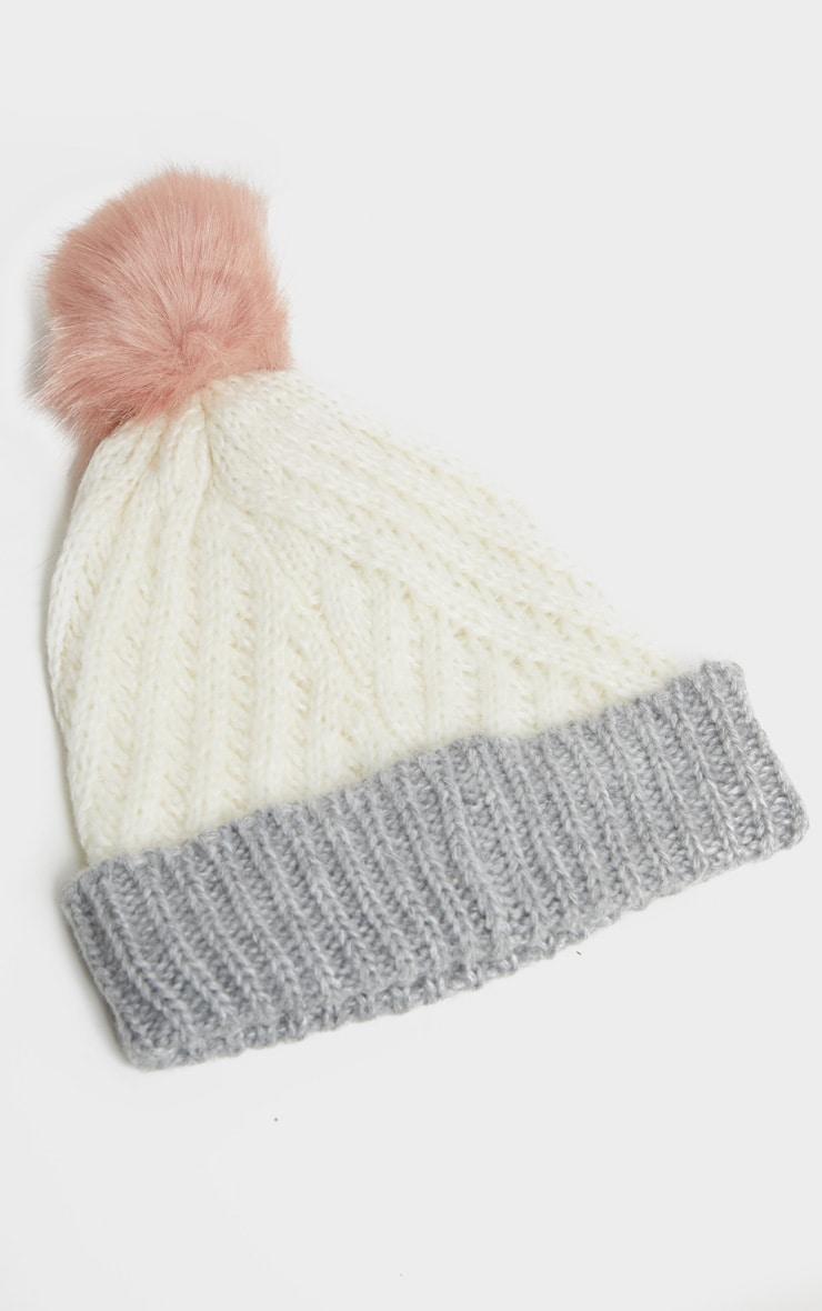 White Ribbed Knit Beanie Hat with Fur Pom 2