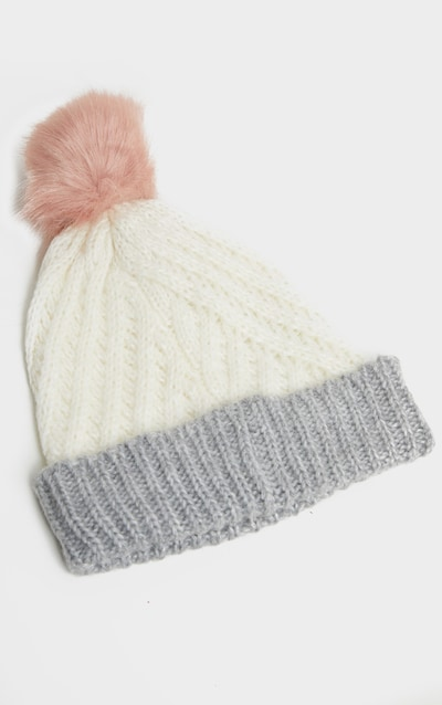 White Ribbed Knit Beanie Hat with Fur Pom
