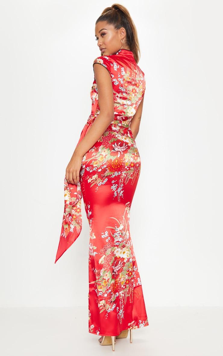 Red Oriental Print High Neck Extreme Split Maxi Dress 2