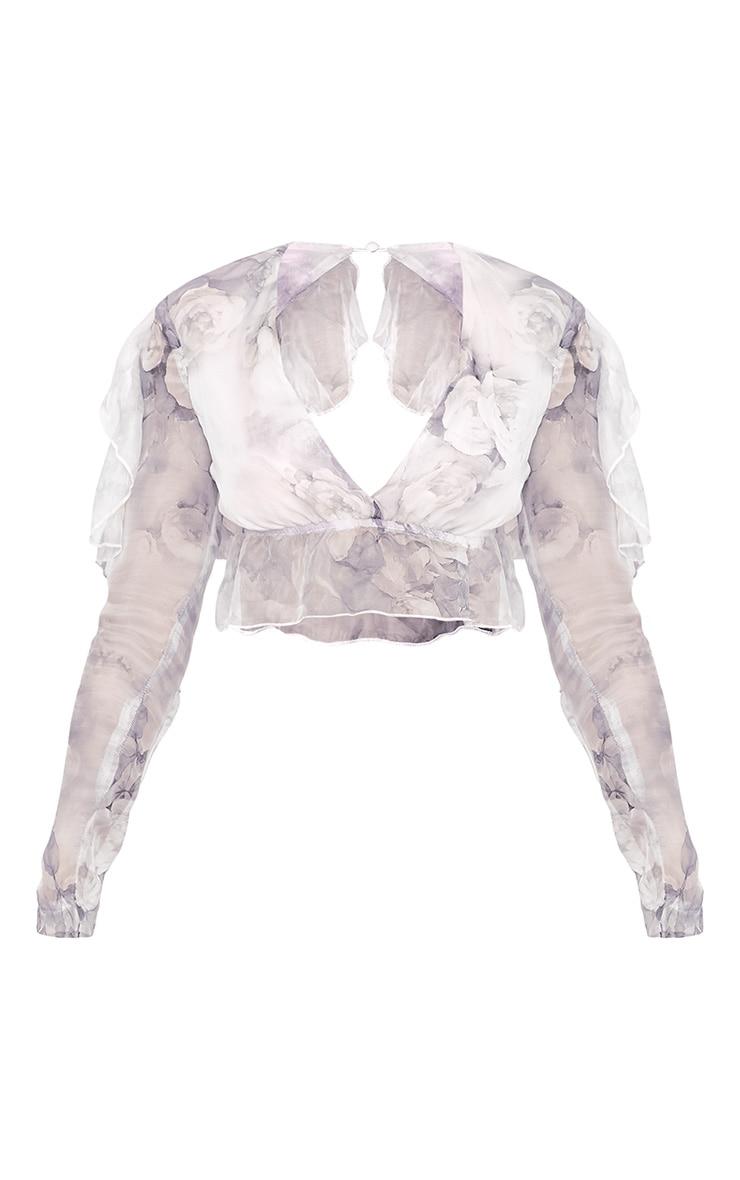 Anastacia Grey Printed Open Back Ruffle Soft Crop Blouse 3