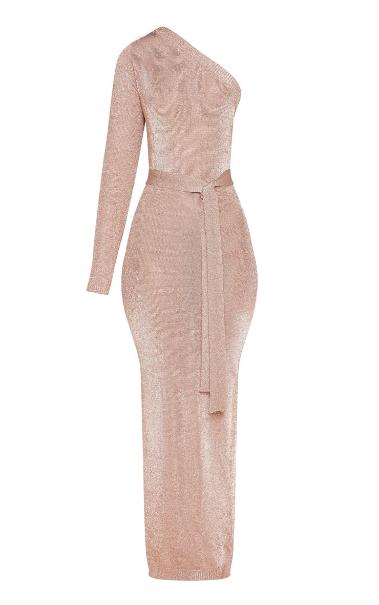Rose Gold One Shoulder Metallic Knitted Dress 3