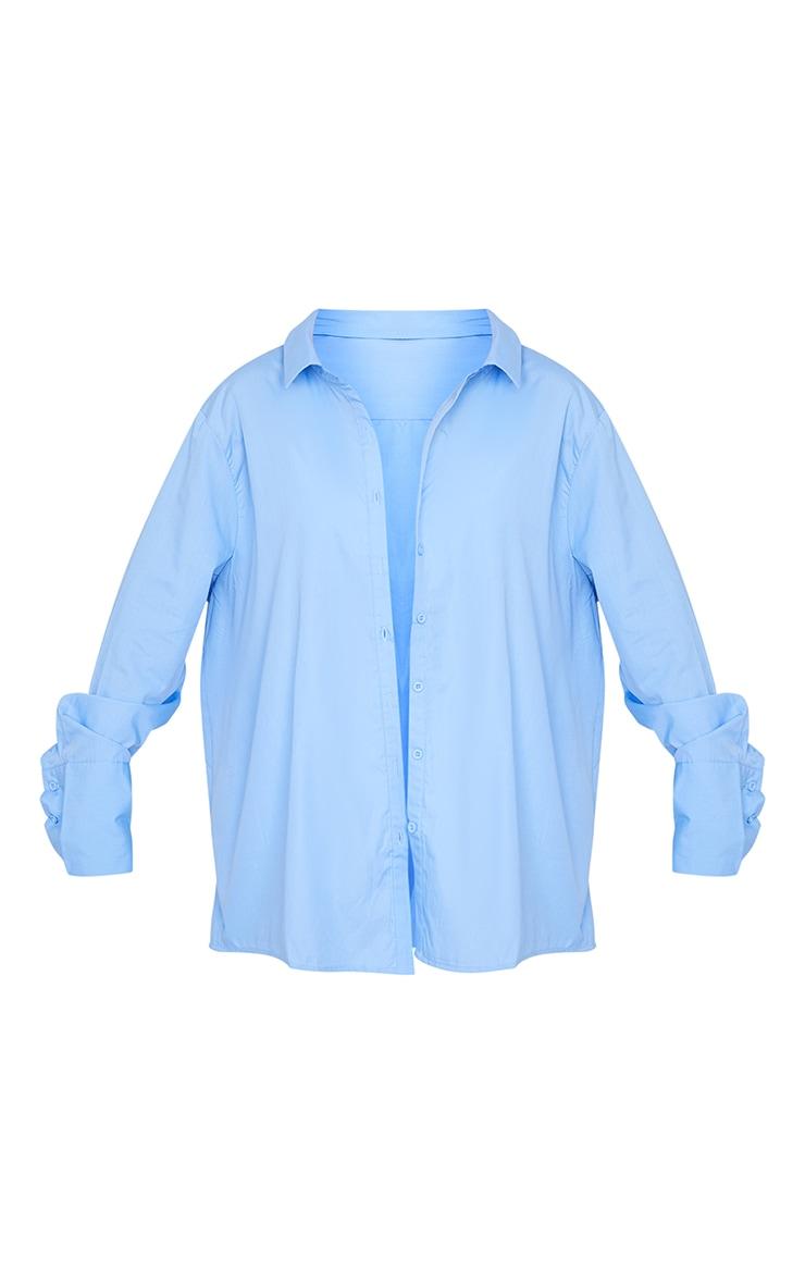 Cornflower Blue Oversized Cuff Shirt 5
