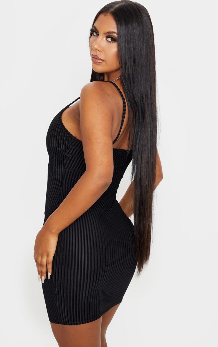 Black Velvet Ribbed Strappy Bodycon Dress 2