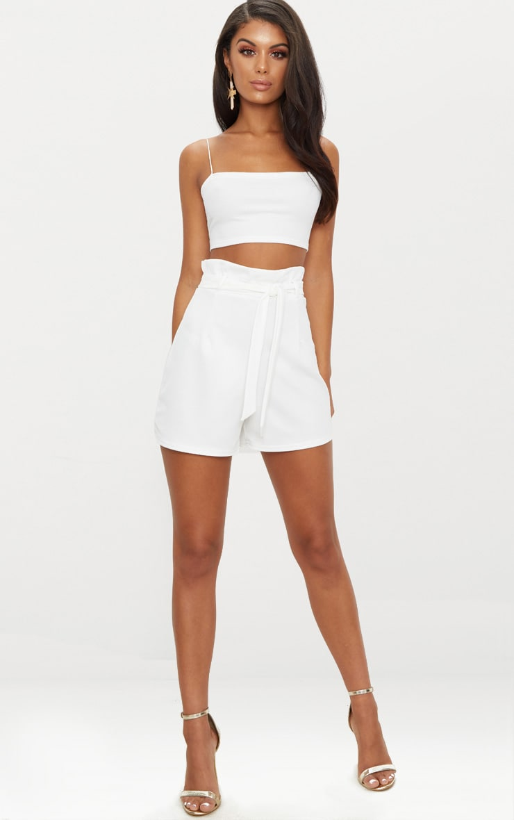 White High Waisted Tie Front Short  5