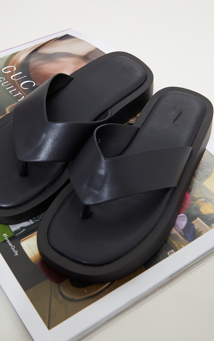 Black Chunky Sandal Toe Post Flip Flops 4