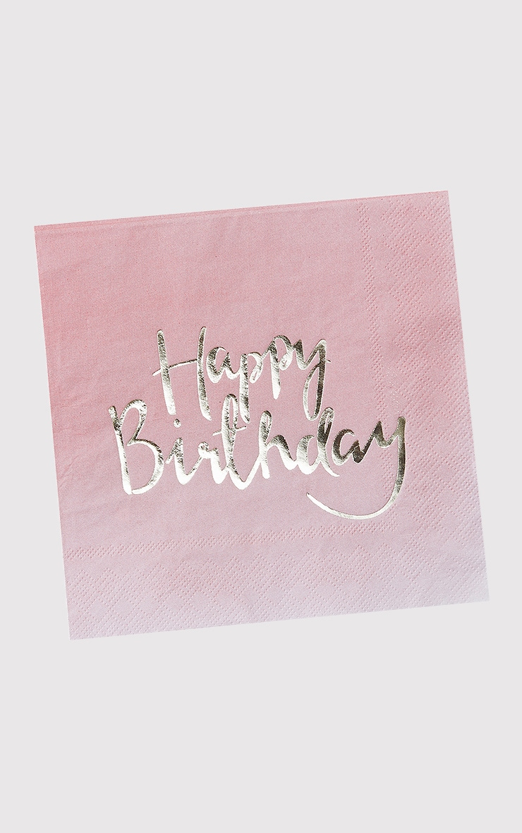Ginger Ray 20 Pack Pink Ombre Happy Birthday Paper Napkins 2