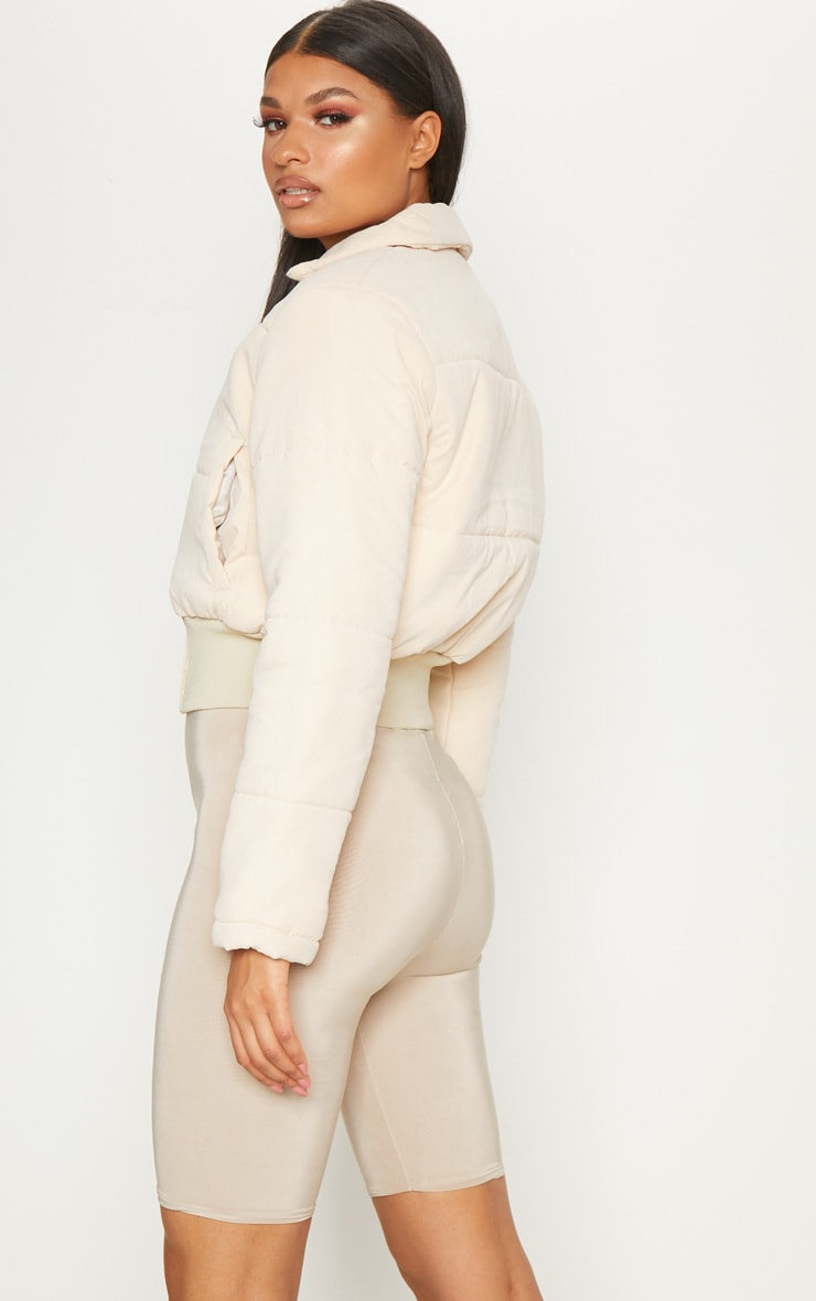 Beige Peach Skin Cropped Puffer Jacket 2