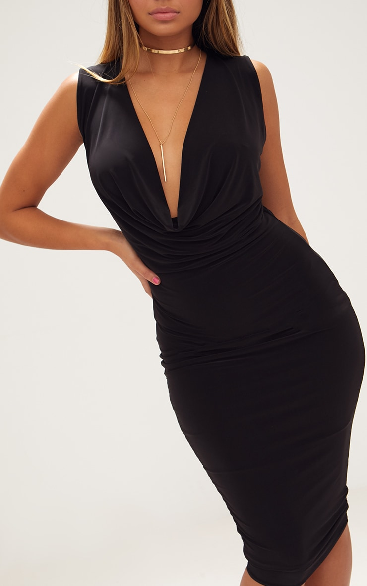 Black Slinky Cowl Neck Midi Dress 5