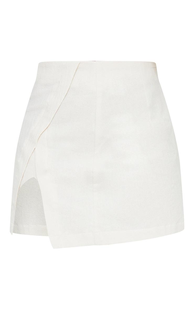 Petite Stone Button Detail Linen Look Look Mini Skirt 6