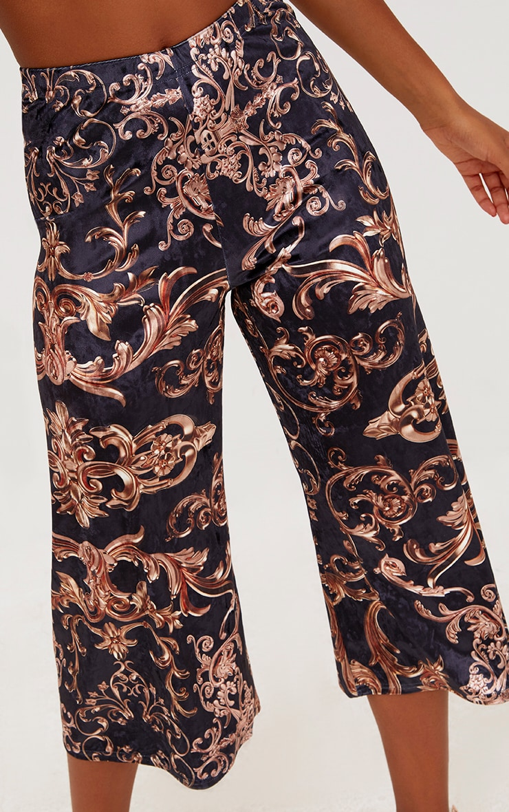 Navy Velvet Ornate Print Culottes 5