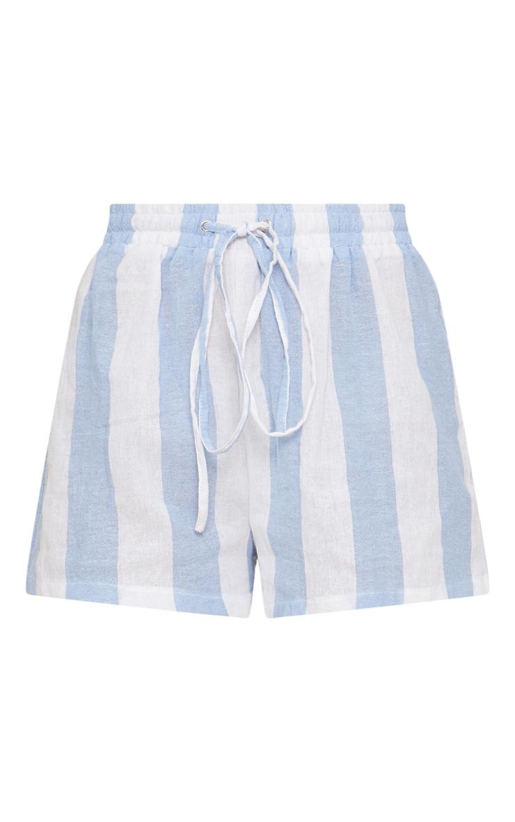 Short en coton à rayures bleu pâle 3