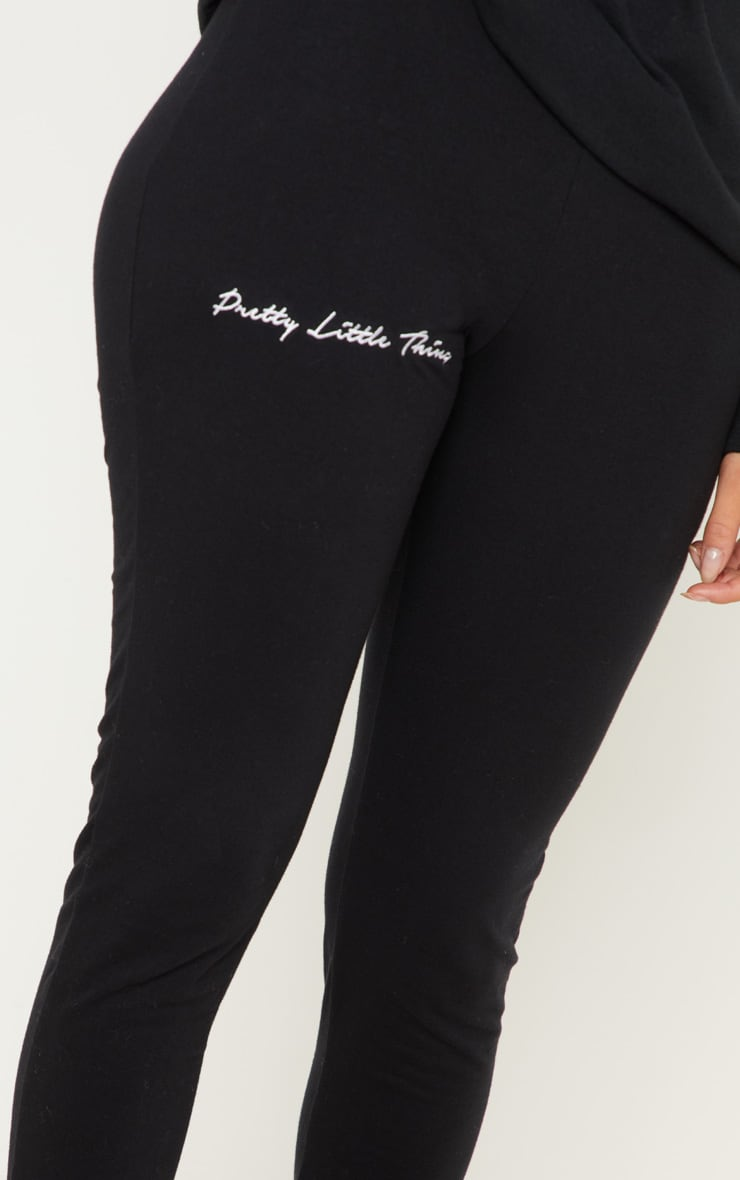 PRETTYLITTLETHING Black Embroidered Leggings 5