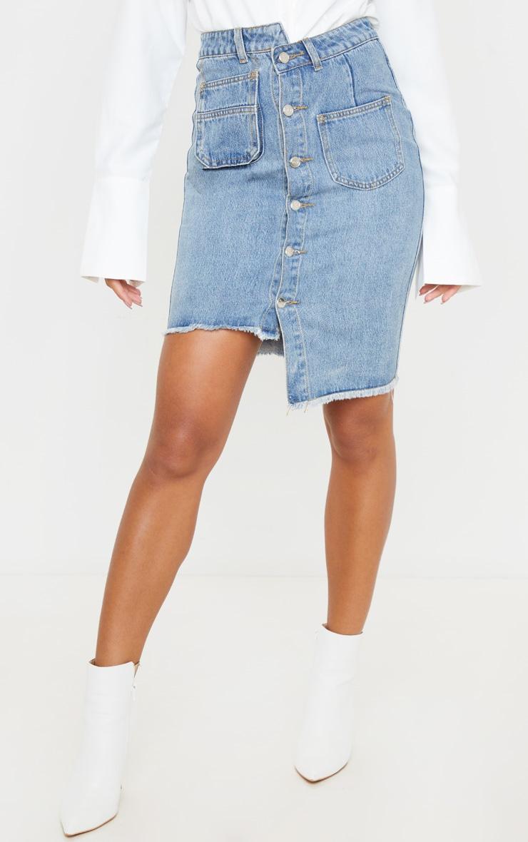 Mid Blue Wash Asymmetric Waist Midi Denim Skirt 2