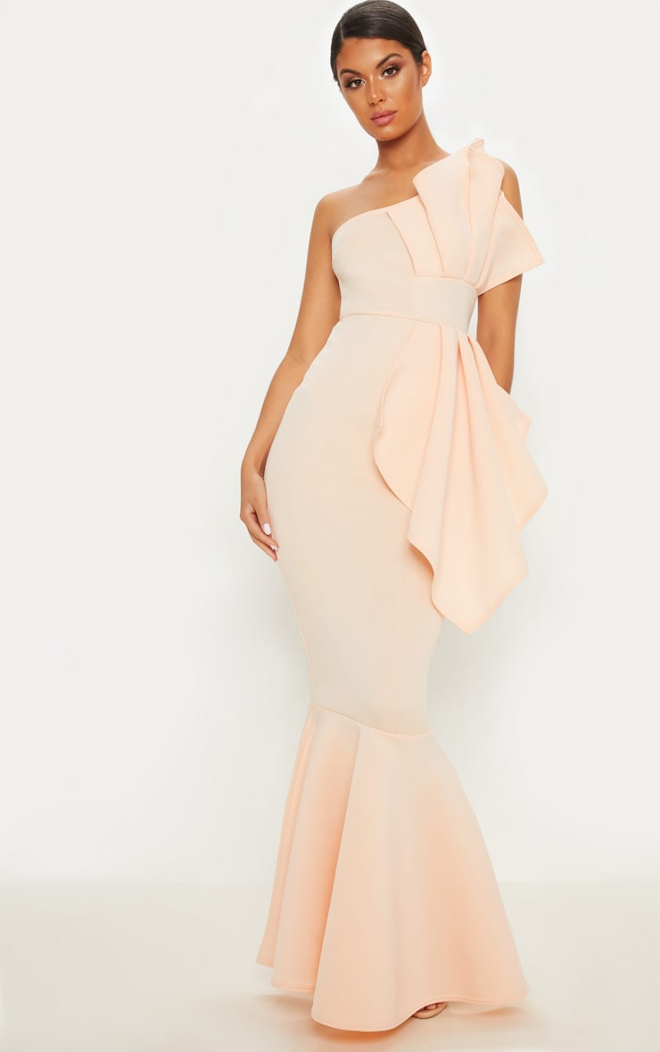 Nude Bonded Scuba Pleated One Shoulder Fishtail Maxi Dress 1