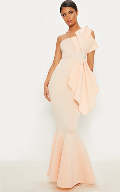 Nude Bonded Scuba Pleated One Shoulder Fishtail Maxi Dress