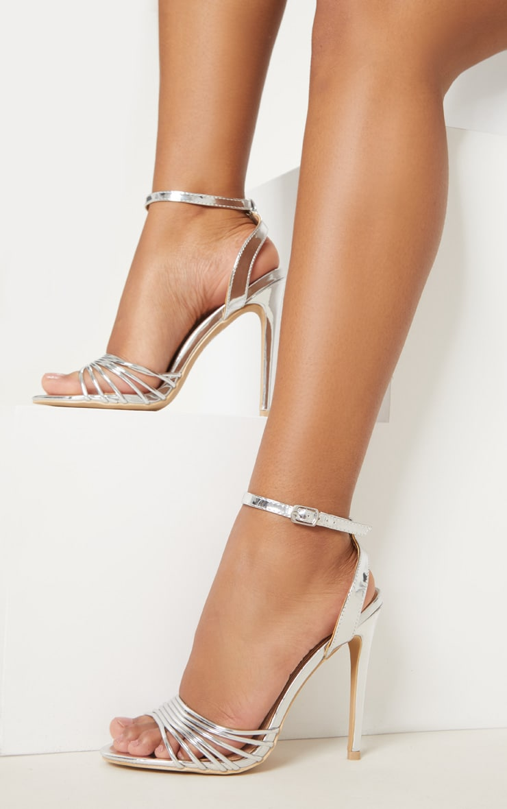Silver Strappy Toe Metallic Sandal 2