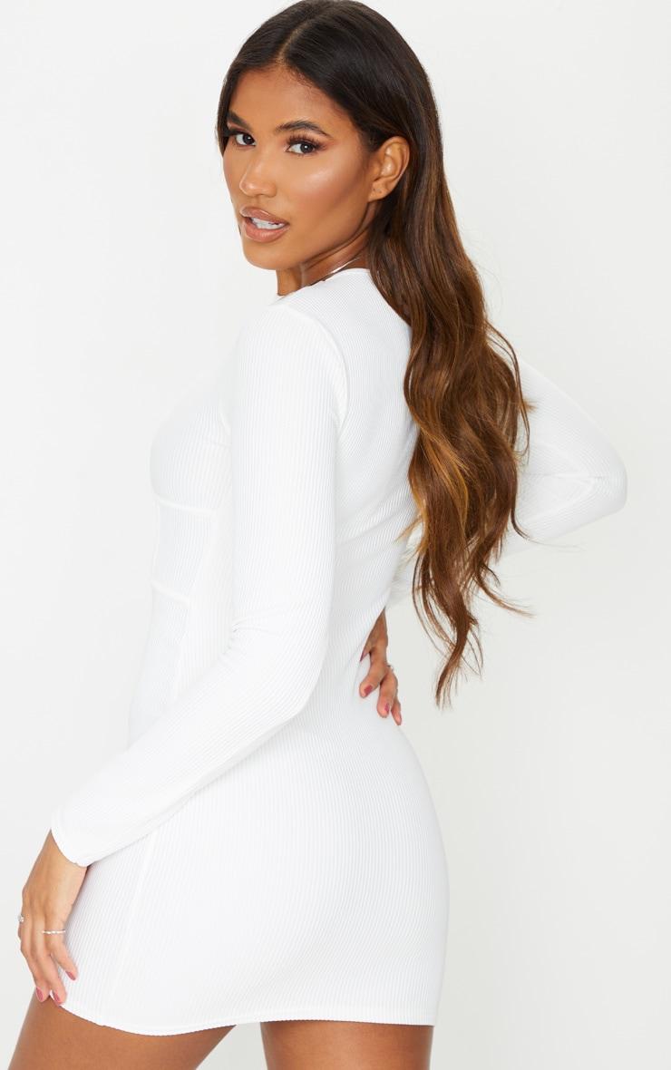 White Rib Binding Detail Long Sleeve Bodycon Dress 2
