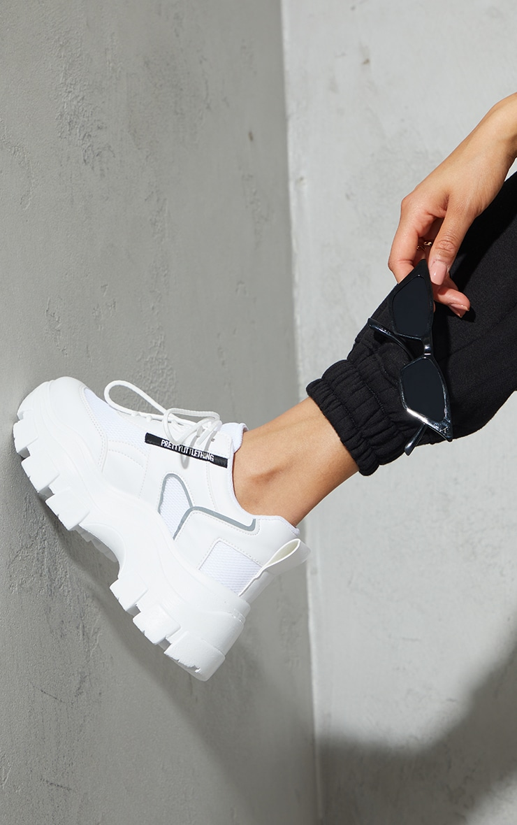 PRETTYLITTLETHING White PU Contrast Mesh Cleated Chunky Sole Sneakers 2