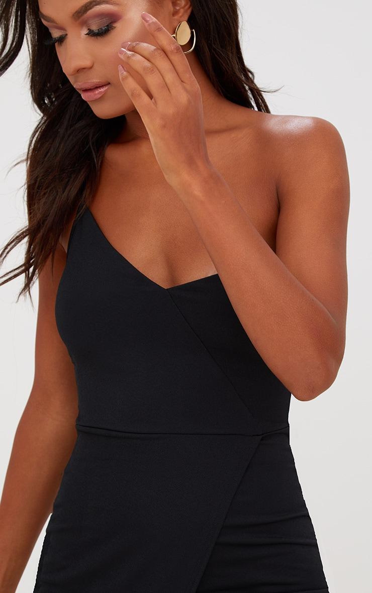 Black Asymmetric One Shoulder Bodycon Dress 5