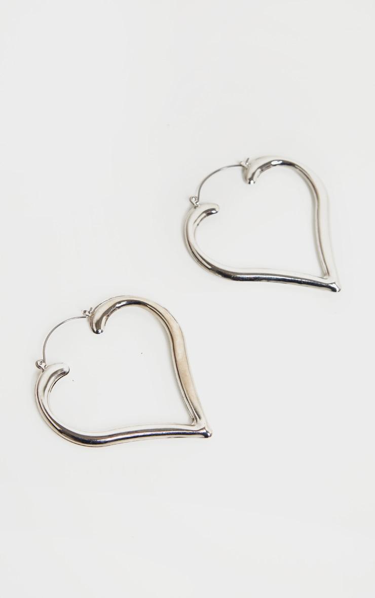 Silver Heart Shape Hoop Earrings 3